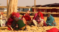 Old women in desert Stock Footage