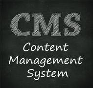 Chalkboard illustration of cms - content management system - stock illustration