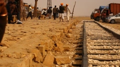 Indian people at Desert Train station of Rajasthan Stock Footage