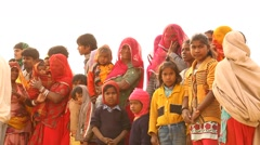Mothers and children in Desert - stock footage