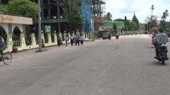 Pathein, Driving through the streets on a motorcycle Stock Footage