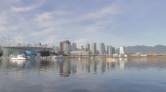 Wide angle 30 seconds - Vancouver skyline BC place sunny day Stock Footage