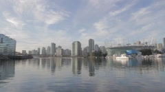 Wide angle - BC place and false creek condos Stock Footage