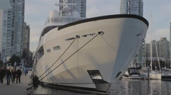 Towering yacht - Yaletown Marinaside Stock Footage