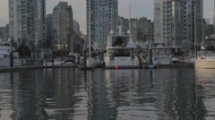 View from water -  luxury yachts at the Yaletown Marina Stock Footage