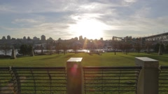 Golden hour - peaceful view of George Wainborn park Stock Footage