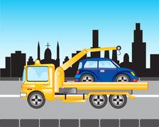 Car to evacuations in city - stock illustration