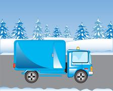 Car on road in winter Stock Illustration