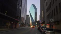 Walking by Fountain Place in Dallas Stock Footage