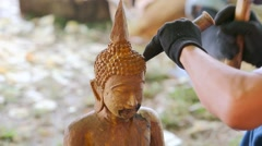 Hand of carver carving wood Stock Footage