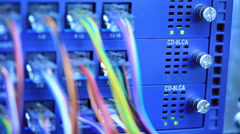 LED lighting status on network equipment Stock Footage