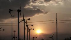 Timelapse 4K Wind turbine Windmill Windpump Sunset Sky Summer  Cloud Stock Footage