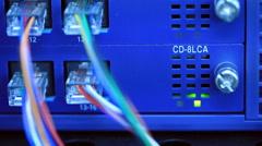 LED lighting status on network equipment - stock footage