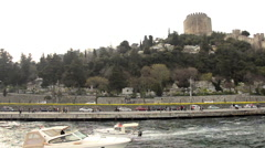 Rumeli Hisari, old castle on Bosporus, Istanbul Stock Footage