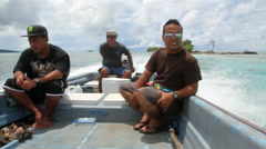 Three on a Boat on the Micronesian island of Pohnpei Stock Footage
