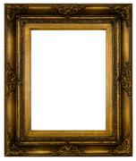 Antique retro frame for artwork from gold isolated - stock photo