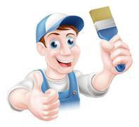 Man holding paintbrush - stock illustration