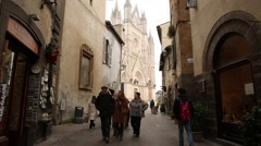 Orvieto in Umbria, Italy, narrow street with small shops. Stock Footage