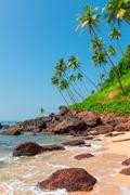 vertical picture of beautiful beach in the tropics - stock photo