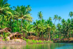Tropical palms and bungalows to relax from the hectic Stock Photos