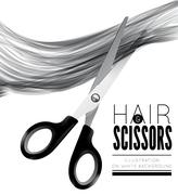 Hair and scissors on a white background - stock illustration