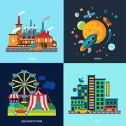 Stock Illustration of Various cityscapes colored houses, amusement park, night skyscrapers, factory