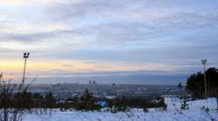 Sunset. Winter. Ekaterinburg. TimeLapse. Camera moves. 1280x720 - stock footage