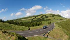 A car on a road in Sao Miguel, the main island of the Azores Stock Photos
