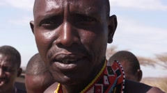 Samburu tribesman talking. Kenya. Stock Footage