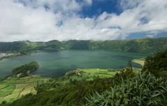 Lagoa Azul lake in Sao Miguel island in the Azores, Portugal s Lagoa Azul lak - stock photo