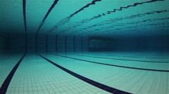 Empty Olympic Swimming Pool Underwater Stock Footage