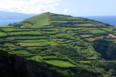 Terraces for agriculture on a hill in the Azores Stock Photos