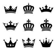 Collection of crown silhouette symbols - stock illustration