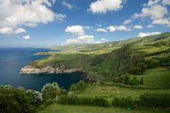 View of the cliffs on the northern shore of Sao Miguel Island, Azores, Portug Stock Photos