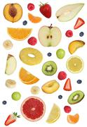 Collage of fruits like apples fruit, oranges, banana and strawberry Stock Photos