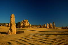 Sunset over Pinnacles, at the Nambung NP in Western Australia - stock photo