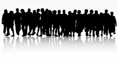 People silhouettes group women and men - stock illustration