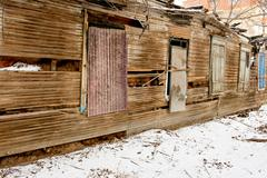 Stock Photo of Ruins of the old wooden house. Astrakhan, Russia