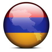 Stock Illustration of Map on flag button of Republic of Armenia