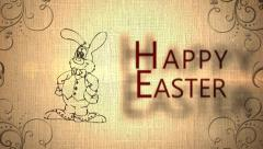 Happy Easter Animation with Easter Bunny Icons Stock Footage