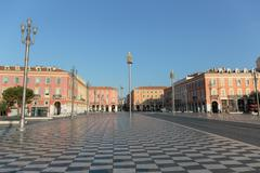 NICE, FRANCE - OCTOBER 30, 2014: Views of the Place Massena. Square is locate Stock Photos