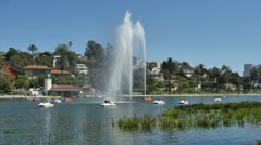 Water Fountain in Echo Park,  Los Angeles California Stock Footage