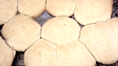 Home cooked sugar cookies on pan Stock Footage