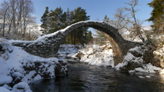 Packhorse Bridge, Carrbridge 4K Stock Footage