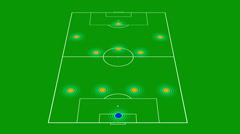 Zooming in on soccer tactics Stock Footage