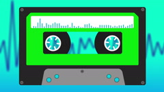 Cassette Tape with audio Waves, Animation - stock footage