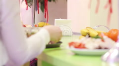 Refreshment table - stock footage