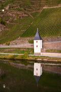 Old ferry house at the river Mosel near Trittenheim Stock Photos