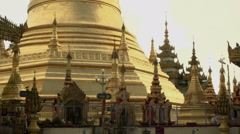 Pathein, Birds in the sky at Shwemokehtaw Pagoda Stock Footage