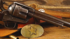 Wild West Display including Colt Peacemaker  Stock Footage